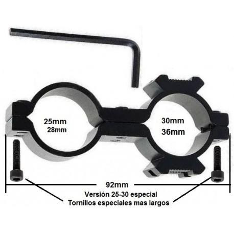 Montura de Linterna para armas doble anillo 25x30 esepcial