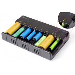 Multi Cargador de baterías de 8 bahías